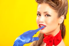 Pin-up girl in american style Stock Images