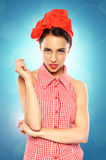 Pin-Up girl. Beautiful Pin-Up girl on blue background Royalty Free Stock Images