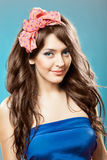 Pin up girl with beautiful hair. Royalty Free Stock Image