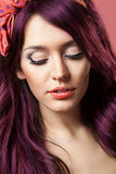 Pin up girl with beautiful hair. Royalty Free Stock Images