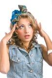 Pin-up-Girl beim Denken Lizenzfreies Stockfoto
