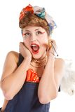 Pin up girl, bonde  housewife Royalty Free Stock Photo