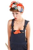 Pin up girl, bonde  housewife Royalty Free Stock Images