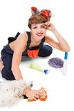 Pin up girl, bonde  housewife Stock Photography