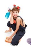 Pin up girl, bonde  housewife Royalty Free Stock Image