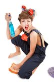 Pin up girl, bonde  housewife Royalty Free Stock Photos