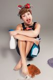 Pin up girl, bonde  housewife Stock Images