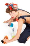 Pin up girl, bonde  housewife Royalty Free Stock Photography