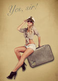 Pin Up Girl on Brief. Pin Up Retro Vingage girl Stock Images