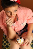 Pin up girl with cake Stock Photos