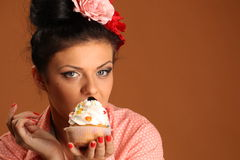 Pin up girl with cake Stock Photo