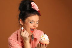 Pin up girl with cake Royalty Free Stock Photo