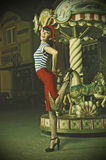 Pin Up Girl and carousel Stock Image