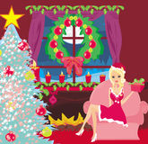 pin-up girl in Christmas inspired costume Royalty Free Stock Images