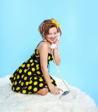 Pin-up girl with closed eyes Stock Photo