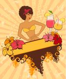 Pin-up girl with cocktail. Beautiful pin-up girl with cocktail in retro style stock illustration