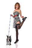 Pin-up girl with dog Royalty Free Stock Image
