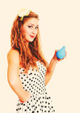 Pin up girl with enema, toned in retro style Stock Images