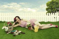 Pin up girl gardening Stock Photos