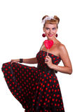 Pin-up Girl with heart shaped candy Stock Photography