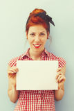 Pin-Up Girl holding blank card. Retro Style Royalty Free Stock Images