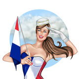 Pin Up girl Holding France Flag Stock Images