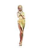 Pin-up-Girl im Goldkleid lizenzfreie stockfotografie