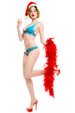 Pin-up girl in latex bikini Stock Images
