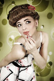 Pin-up girl with lipstick Stock Photo