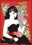 Pin-up girl with lollipops. Pin up woman in black dress with lollipops in a hands stock illustration