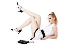 Pin-up girl with long legs Stock Photos
