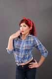 Pin up girl making surprise hand gesture Royalty Free Stock Image