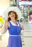 Pin-up girl in a mall Stock Images