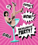 Pin Up Girl In Martini Glass. Vector Illustration Royalty Free Stock Photo