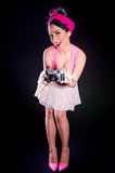 Pin-up Girl With Old Camera Stock Images