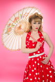 Pin Up Girl With Parasol Images libres de droits