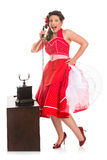 Pin-up girl on the phone Stock Image
