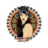 Pin up girl pilot aviation army beauty retro comic vintage emblem Royalty Free Stock Images