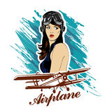 Pin up girl pilot aviation army beauty retro comic vintage emblem Royalty Free Stock Photo