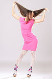Pin-up girl in pink dress Royalty Free Stock Photo