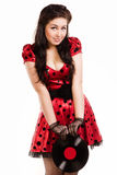 Pin-up girl with a plate Royalty Free Stock Photography