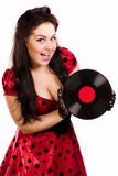 Pin-up girl with a plate Royalty Free Stock Photo