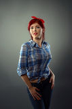 Pin up girl posing with hands on hips Royalty Free Stock Photos