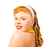 Pin up girl posing over white background Stock Photo