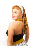 Pin up girl posing over white background Stock Photos