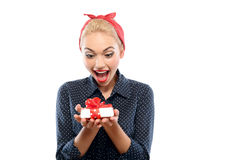 Pin up girl with a present Royalty Free Stock Image