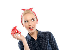 Pin up girl with a present Royalty Free Stock Images