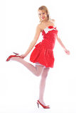 Pin-up of a girl in red Stock Image
