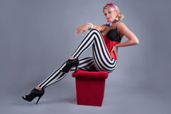 Pin-up Girl in red Costume Stock Photo