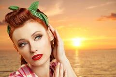 Pin-up girl at the resort. Stock Image